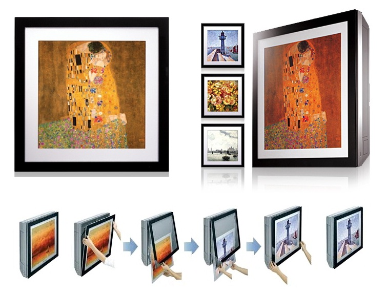 LG'S ARTcool and Mirrorcool wall mounted units with interchangeable pictures.
